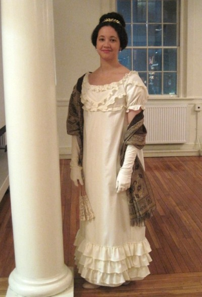 The re-made 1819 dress, with ruffles!