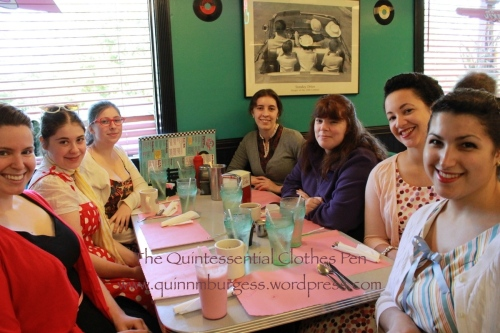 Our 1950s group at the diner. We had another patron take the group shot and she sort of cut off people's heads, but we're grateful for the photo nonetheless.