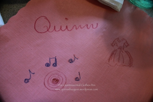 Here's mine. It's hard to draw a record with crayons! Do the music notes help?